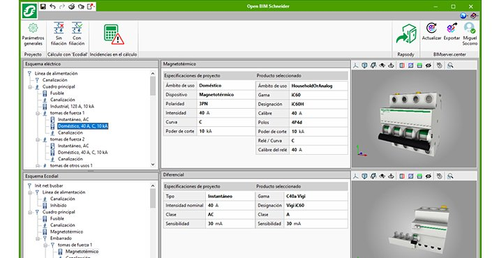 Interfaz del software Open BIM Schneider Electric.